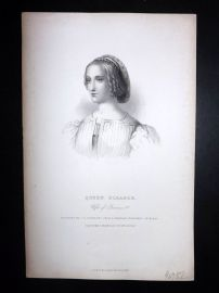Bentley Miscellany 1849 Portrait Print. Queen Eleanor, Wife of Francis 1st